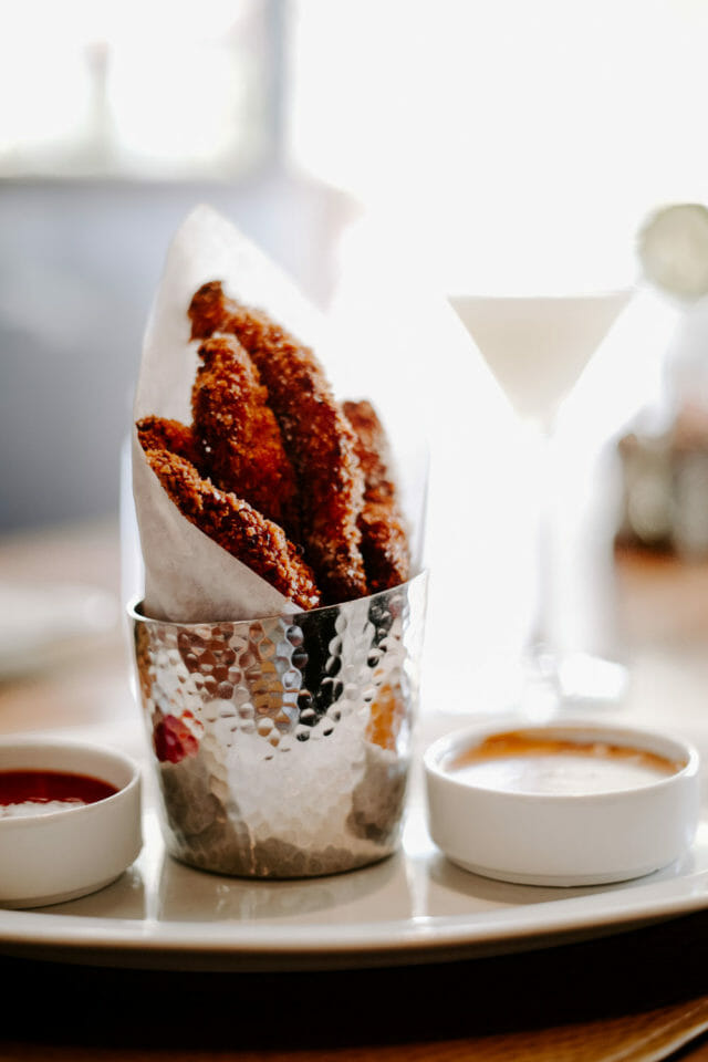 buttermilk chicken tenders with two dipping sauces