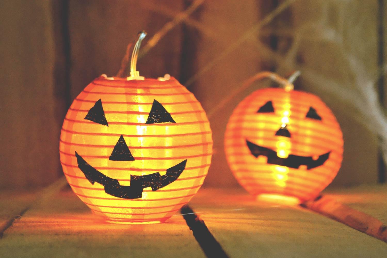 two pater jack-o-lanterns as halloween decoration