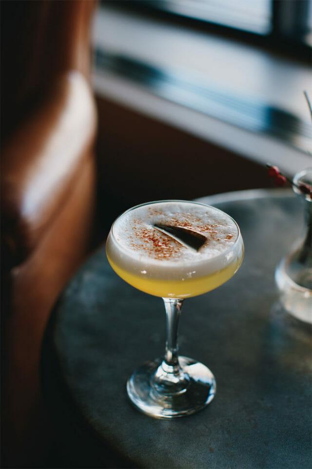 glamorous cocktail on bar table