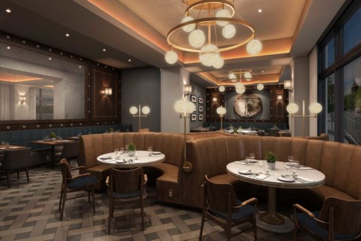 A graphic rendering of the Toscana Amarillo dining room