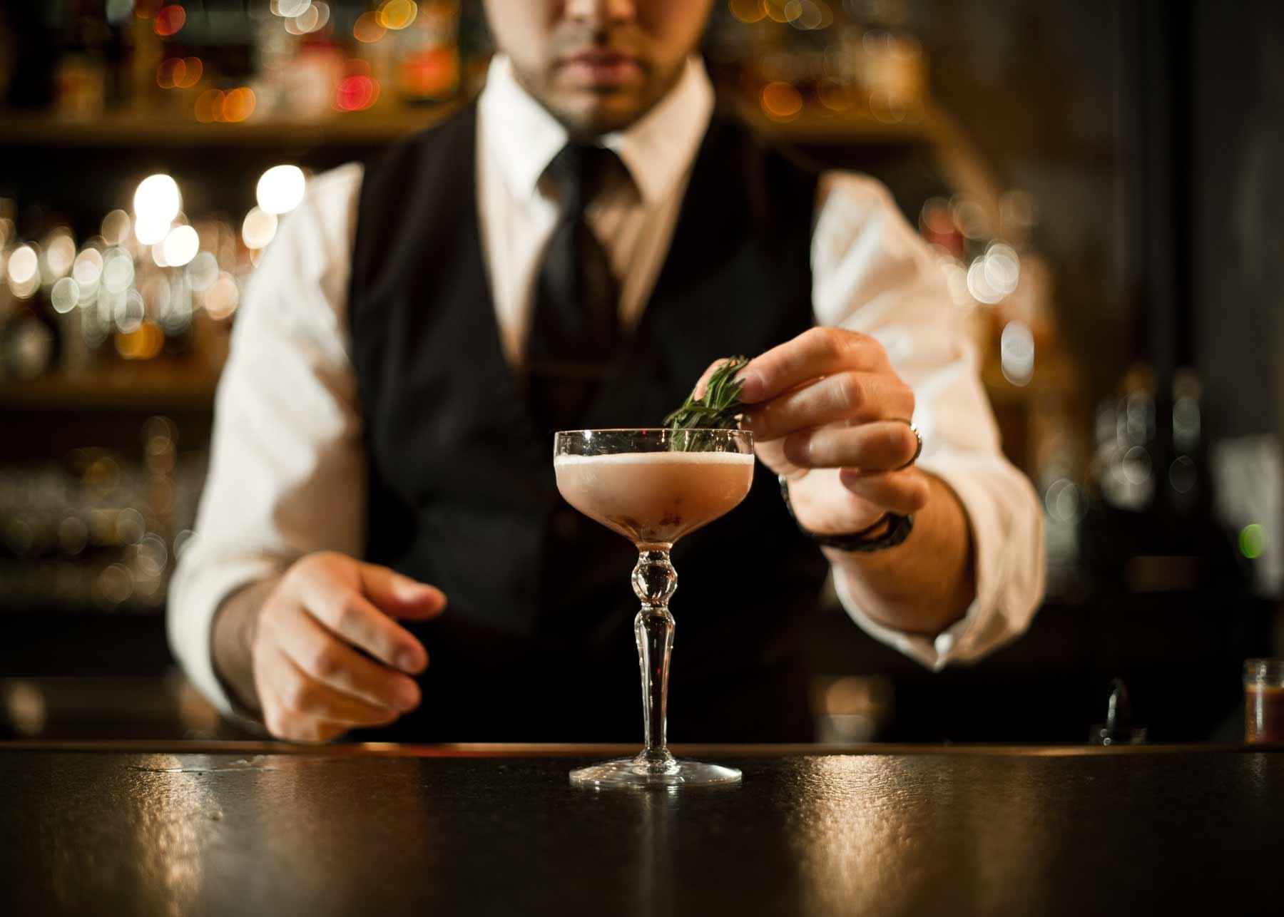 Bartender making a drink at Dockum speakeasy in Wichita