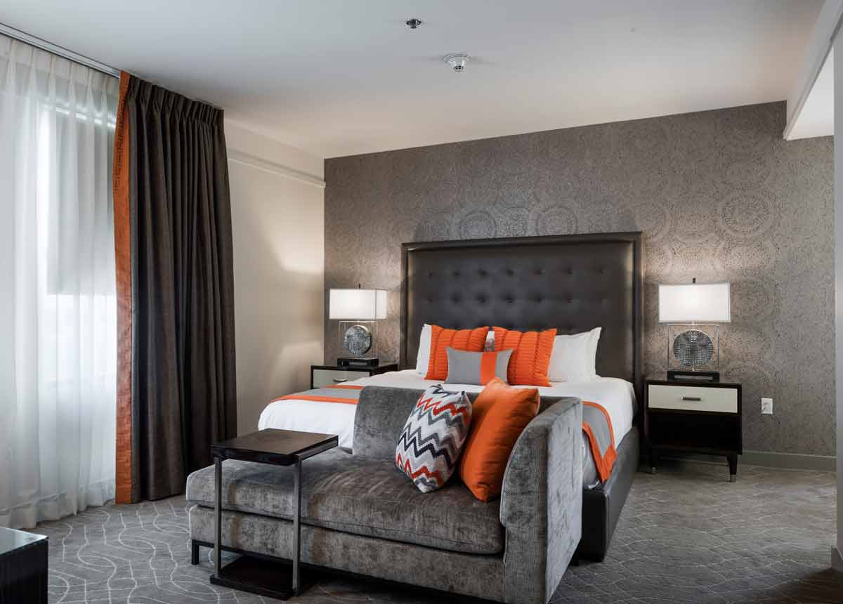 View of a guest room at Colcord Hotel in Oklahoma City
