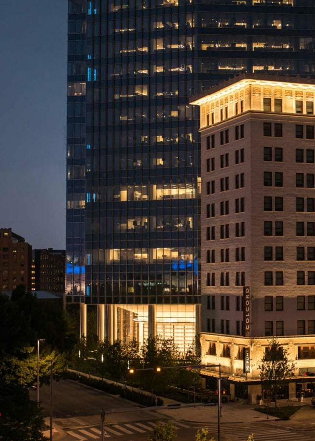 Night view of Colcord Hotel in Oklahoma City