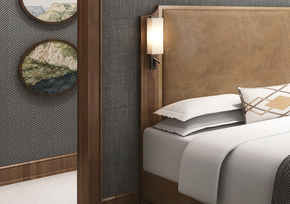 Barfield Hotel Rooms with white linens