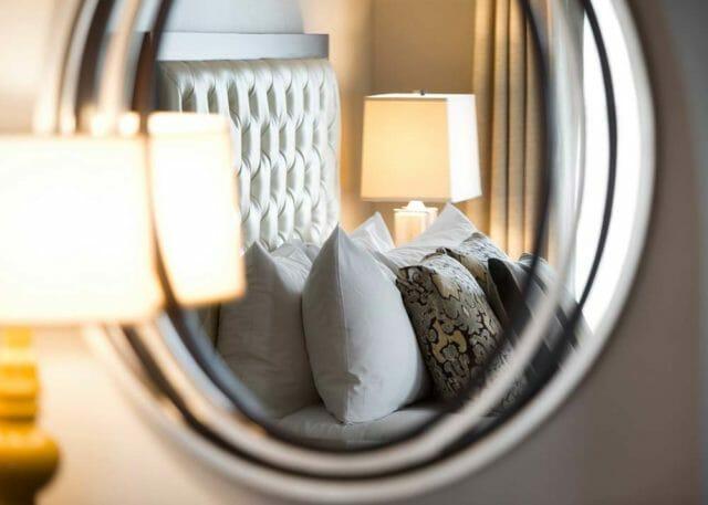 Mirrored view of hotel room at Ambassador Hotel Tulsa