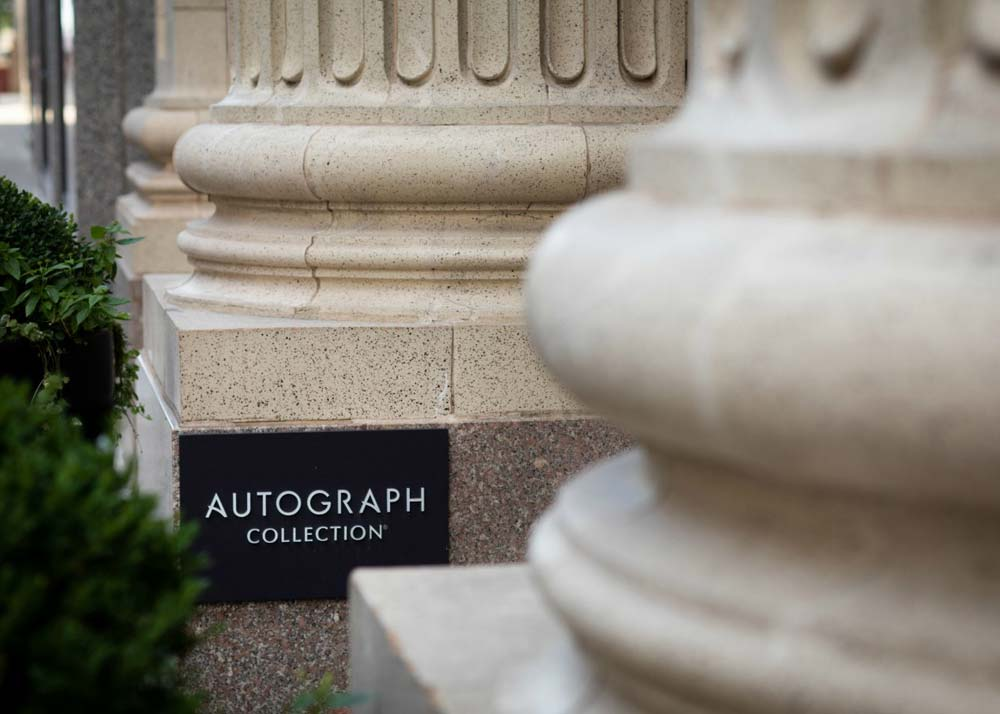 Marriott Autograph Collection on column at Ambassador Hotel Kansas City