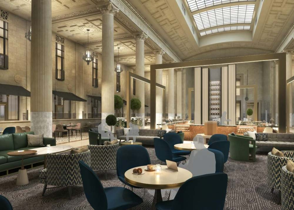 Interior rendering of the future The National hotel in Oklahoma City