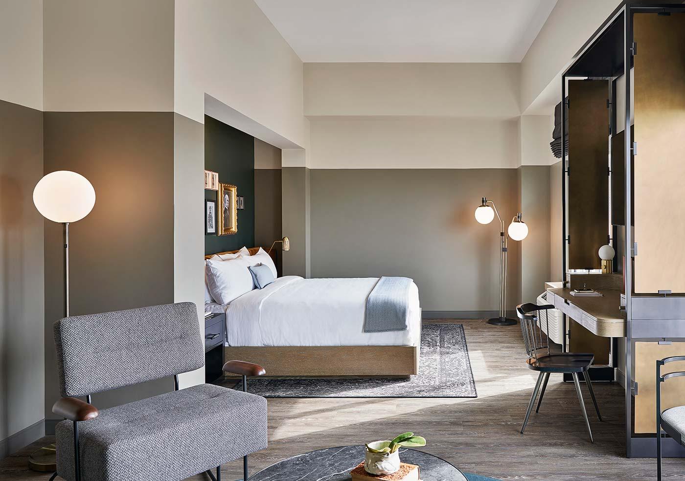 guest bedroom in hotel suite