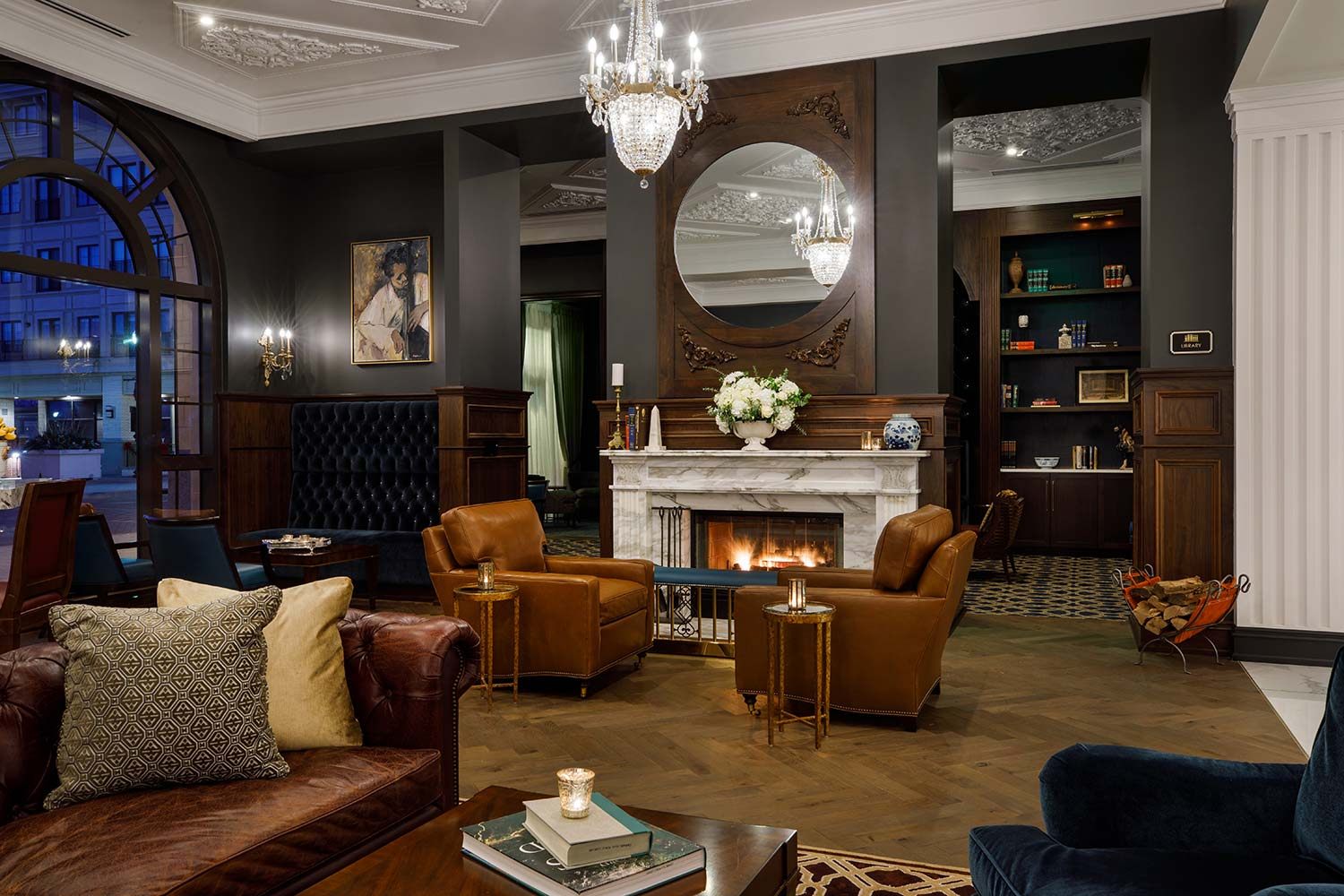 Adagio Lounge seating area with large ceiling chandelier
