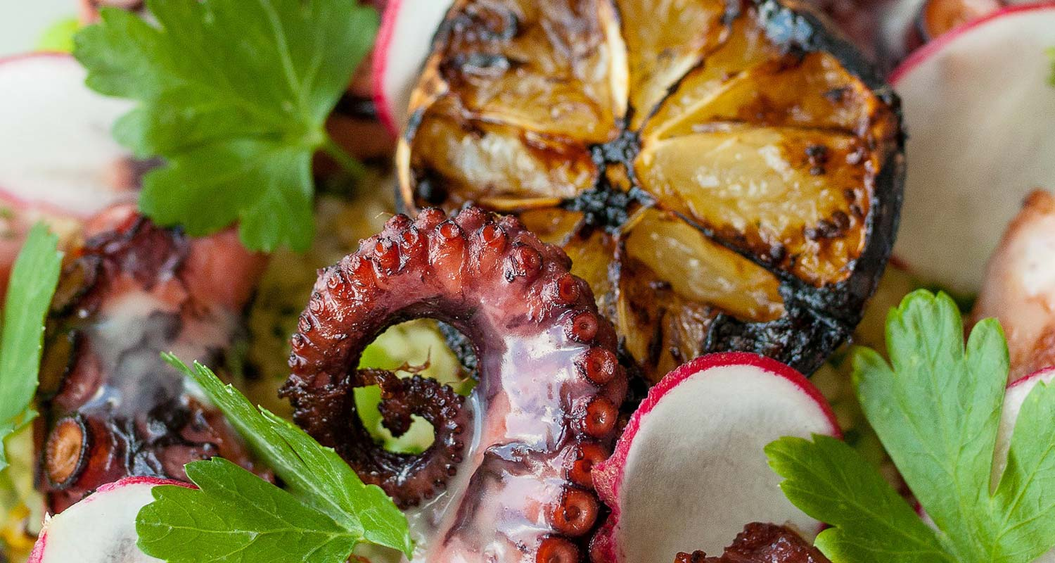 a close up shot of freshly cooked octopus and garnishes