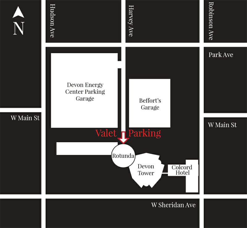 Devon Tower is between the Rotunda building and the Colcord Hotel. Vast Valet parking is found here, driving South on Harvey Avenue