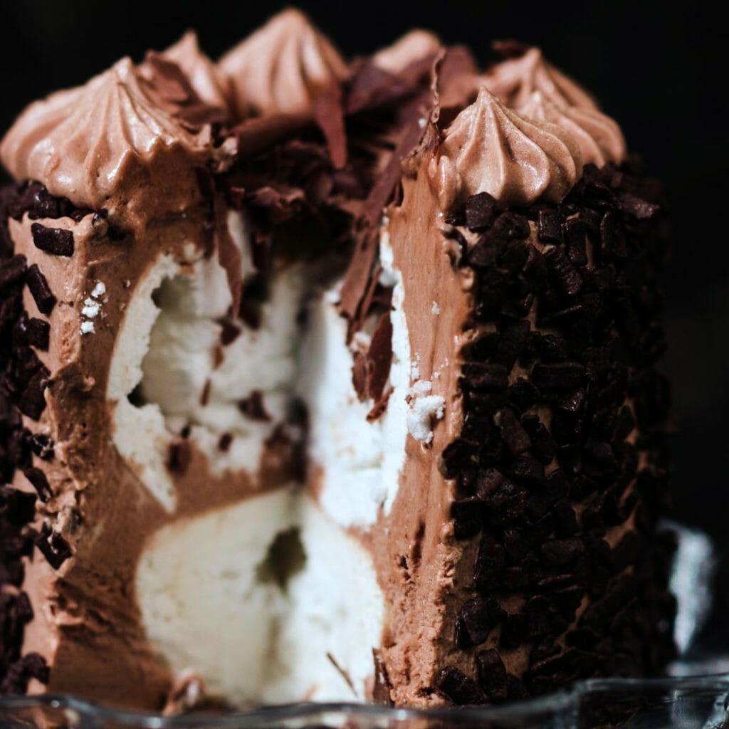 dark fudge cake, chocolate pudding, Cognac cherries