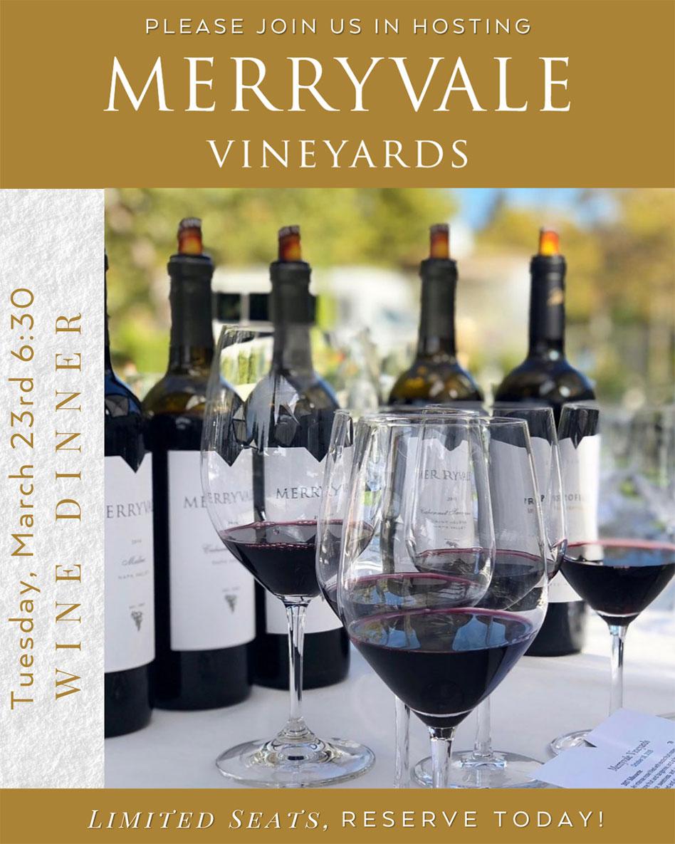Merryvale Vineyards wine dinner advertisement poster