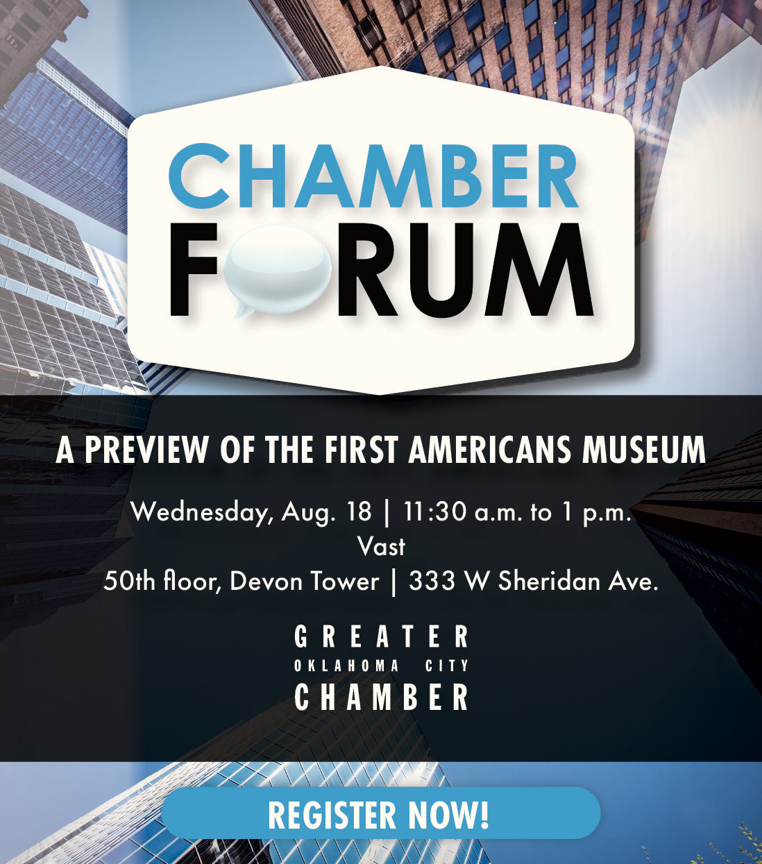 Chamber Forum flyer, showcasing the First Americans Museum, which will highlight the histories of Oklahoma's 39 tribal nations