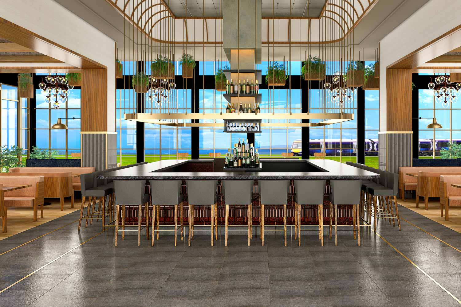 bar interior of floor to ceiling windows, glamorous hanging lights, center bar with seven bar stools on each side