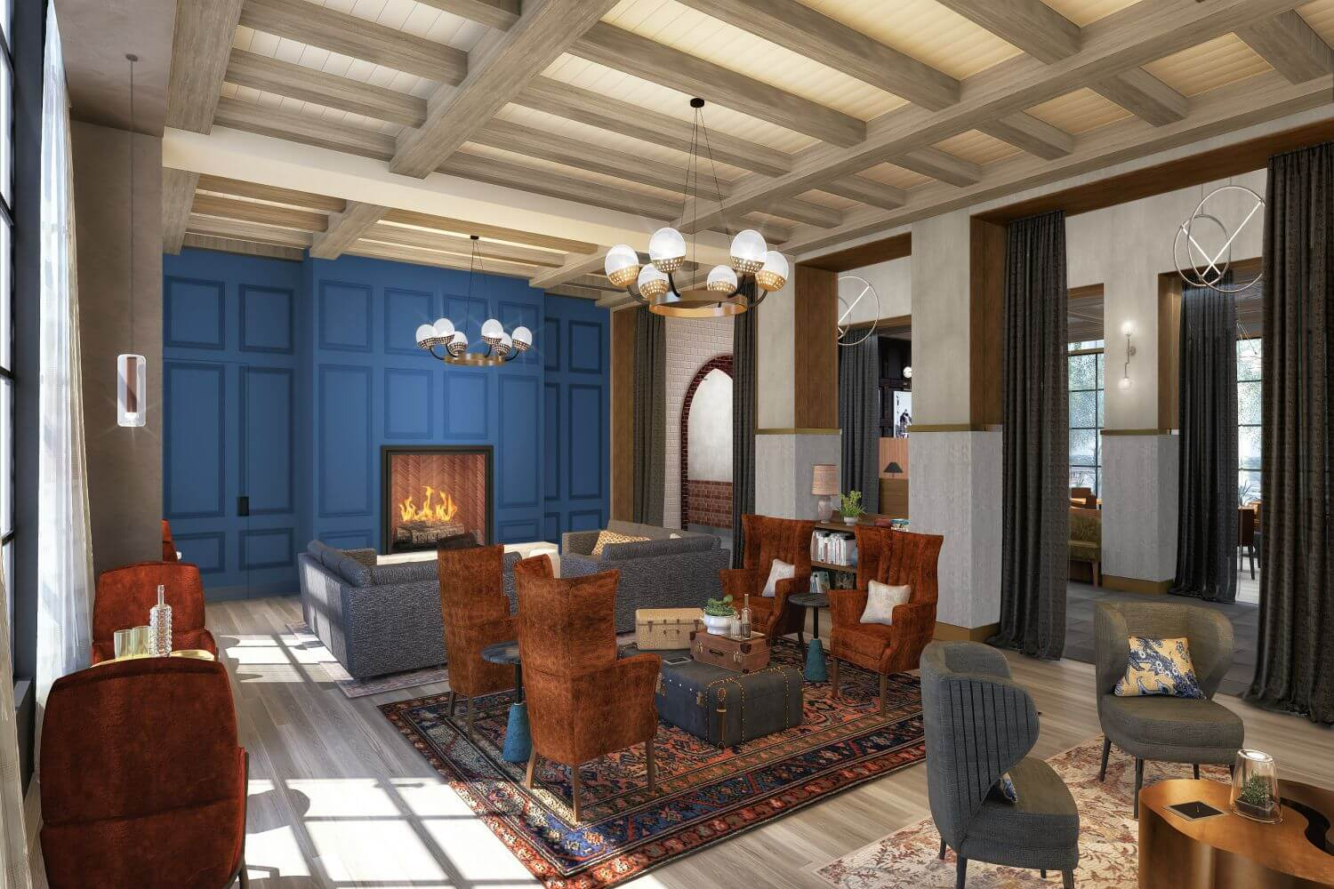 View of Hotel Vin living room in Grapevine with fireplace and communal seating