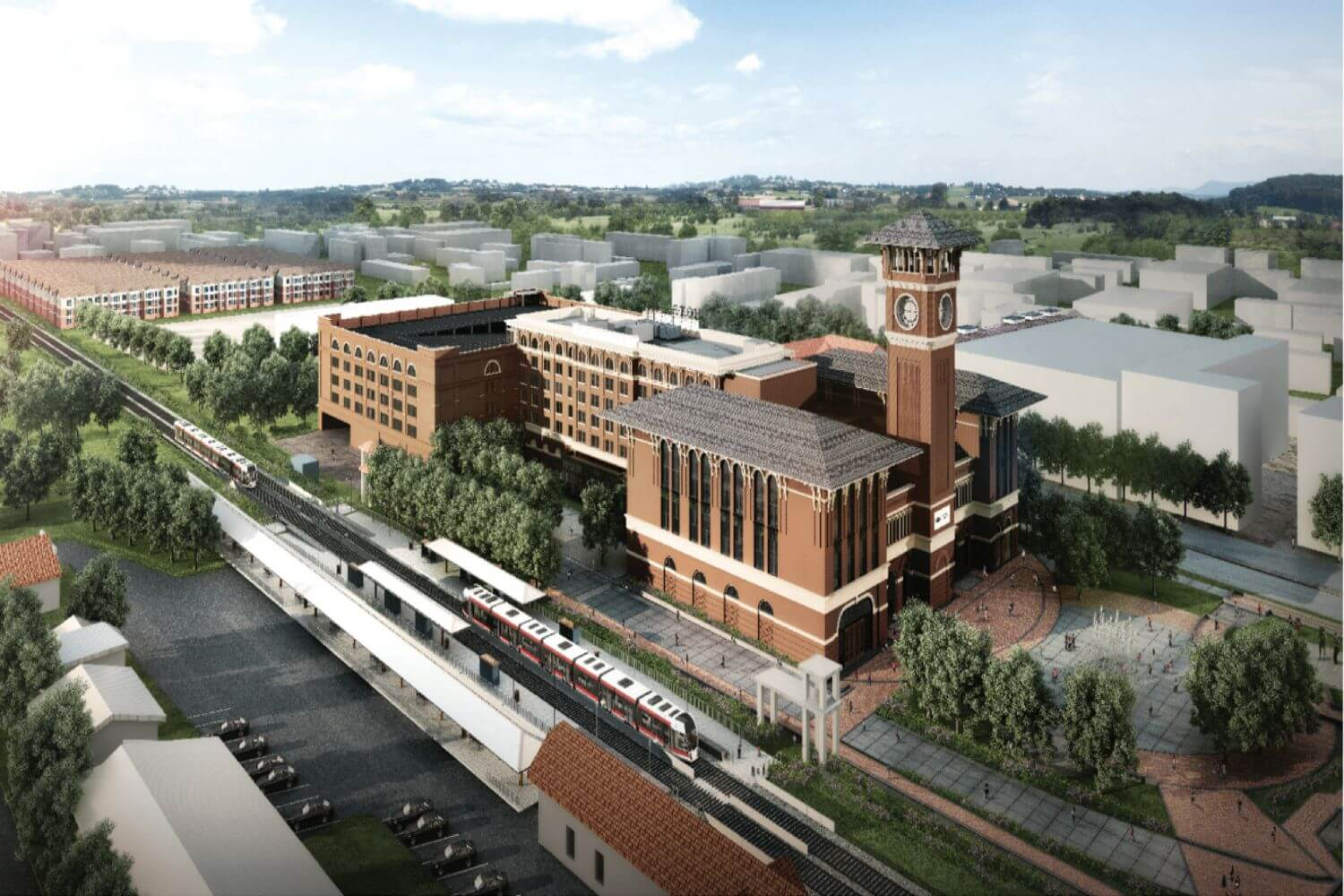 Grapevine Main mixed use project with food hall, hotel and parking garage in Grapevine, Texas.